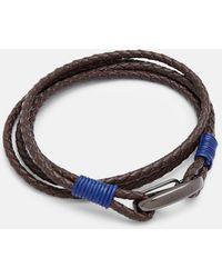 Ted Baker Woven Wrap Leather Bracelet - Marrón