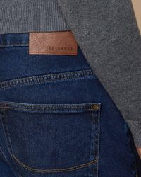 Ted Baker Straight Mid Wash Jeans - Blue