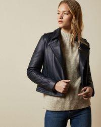 Ted Baker Zip Leather Biker Jacket - Blue
