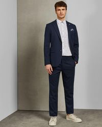Ted Baker Textured Semi Plain Regular Fit Pants - Blue