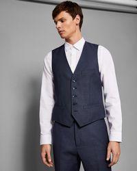 Ted Baker - Debonair Slim Birdseye Waistcoat - Lyst