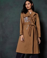 Ted Baker - Graceful Embroidered Cotton Mac - Lyst