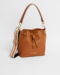 Ted Baker Branded Webbing Strap Bucket Bag - Brown