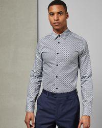 Ted Baker Slim Fit Cotton Print Shirt - Blue