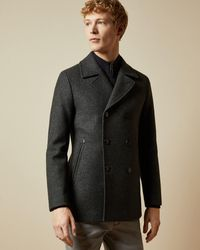 Ted Baker Westun Double-breasted Wool-blend Coat - Blue