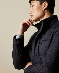 Ted Baker Quilted Wool-blend Jacket - Blue
