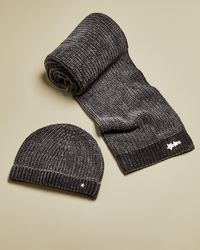 Ted Baker Knitted Chenille Hat And Scarf Set - Gray