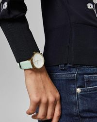 Ted Baker Embossed Dial Leather Strap Watch - Green