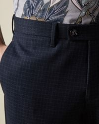 Ted Baker Micro Check Pants - Blue