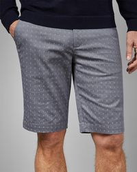 Ted Baker - Tall Cross Embroidery Cotton Shorts - Lyst