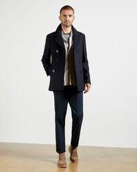 Ted Baker Wool Pea Coat - Blue