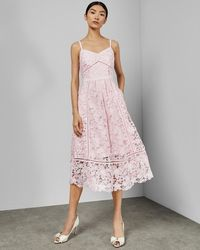Ted Baker - Mixed lace midi dress - Lyst