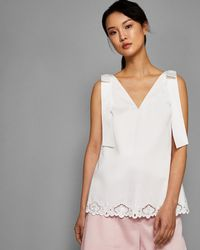 Ted Baker - Bow Shoulder Embroidered Top - Lyst