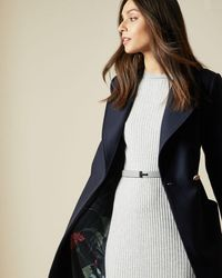 Ted Baker Long Collared Wool Coat - Blue
