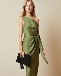 Ted Baker Vestido A Media Pierna Drapeado Asimétrico - Verde