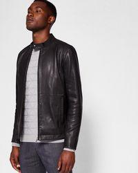2208f6135 Ted Baker Barath Leather Jacket Black in Black for Men - Lyst