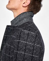 Ted Baker Checked Wool Overcoat - Gray