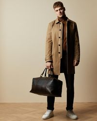 Ted Baker Striped Leather Holdall - Black