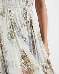 Ted Baker Vanilla Dip Hem Pleated Dress - White