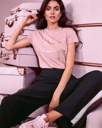 Ted Baker Champagne Logo Fitted T-shirt - Pink