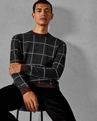 Ted Baker - Checked Wool Jumper - Lyst