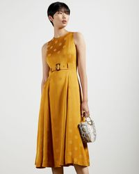 Ted Baker A-line Belted Midi Dress - Yellow