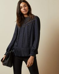 Ted Baker Animal Mesh Lace Swing Top - Blue