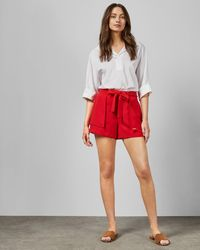 Ted Baker Tie Waist Shorts - Red