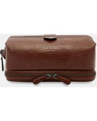 Ted Baker - Croc Effect Leather Wash Bag - Lyst