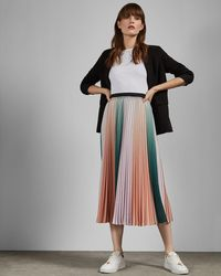 Ted Baker Pleated Striped Midi Skirt