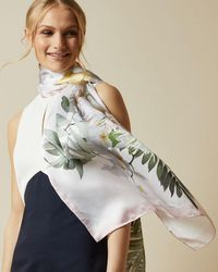 Ted Baker Woodland Long Silk Scarf - White