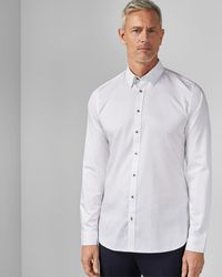 Ted Baker Tall Satin Stretch Shirt - White