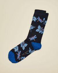 Ted Baker Dragonfly Cotton-blend Socks - Blue