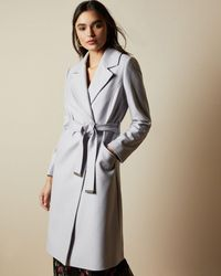 Ted Baker Long Collared Wool Coat - Purple
