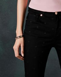 Ted Baker - Embroidered Star Skinny Jeans - Lyst