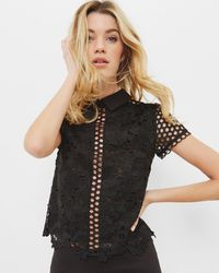 Ted Baker - Lace Collared Cropped Top - Lyst