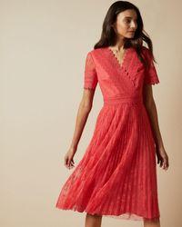 Ted Baker V Neck Lace Midi Dress - Red