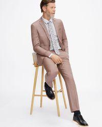 Ted Baker Slim Fit Plain Suit Trouser - Pink