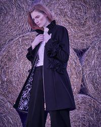 Ted Baker - Ruffle Detail Wool Coat - Lyst