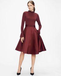 Ted Baker Knitted Frill Full Skirt Dress - Purple