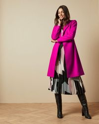 Ted Baker Long Belted Wrap Coat - Pink