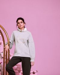 Ted Baker - Champagne Logo Frill Sweat - Lyst