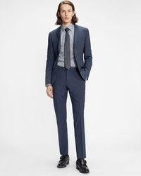 Ted Baker Pantalón De Traje Liso Skinny Fit - Azul