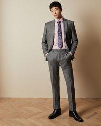 Ted Baker Debonair Sharkskin Wool Suit Pants - Gray