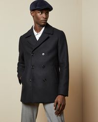 Ted Baker Double Breasted Wool Peacoat - Blue