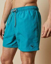 Ted Baker Plain Swim Shorts With Back Pocket - Blue
