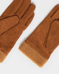 Ted Baker Nubuck Fleece Lined Gloves - Brown