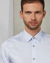 Ted Baker Plain Cotton Shirt - Blue
