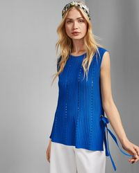 Ted Baker Eyelet Detail Knitted Top - Blue