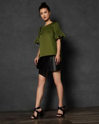 Ted Baker - Smocked Sleeve Cotton Top - Lyst